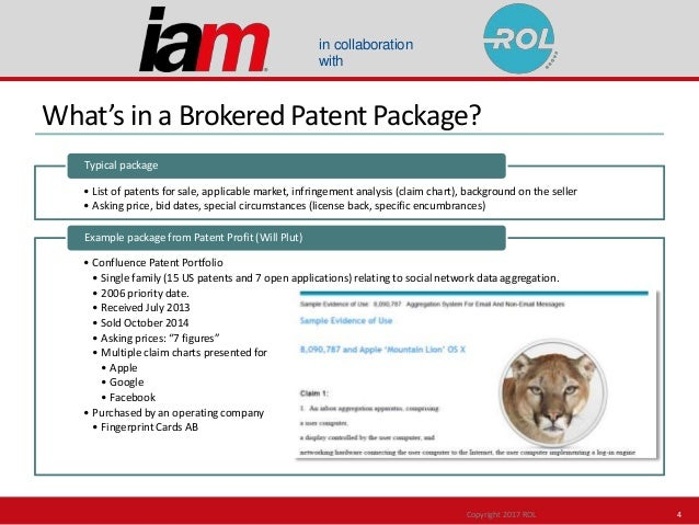 in collaboration with What's in a Brokered Patent Package? • List of patents for sale, applicable market, infringement ana...