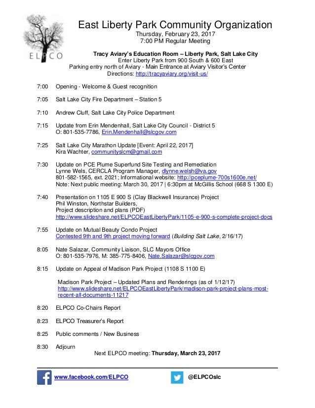 East Liberty Park Community Organization Thursday, February 23, 2017 7:00 PM Regular Meeting Tracy Aviary's Education Room...