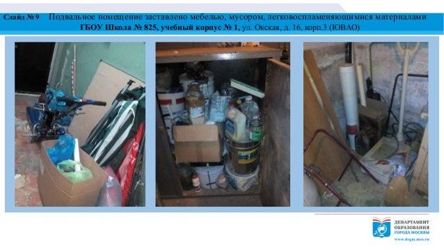 Слайд № 9 Подвальное помещение заставлено мебелью, мусором, легковоспламеняющимися материалами ГБОУ Школа № 825, учебный к...