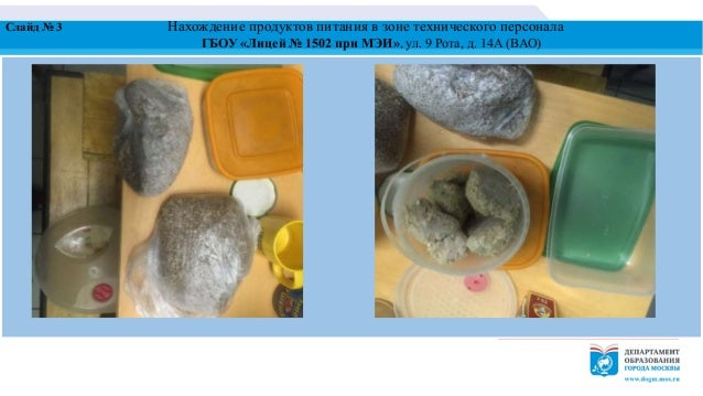 Слайд № 3 Нахождение продуктов питания в зоне технического персонала ГБОУ «Лицей № 1502 при МЭИ», ул. 9 Рота, д. 14А (ВАО)