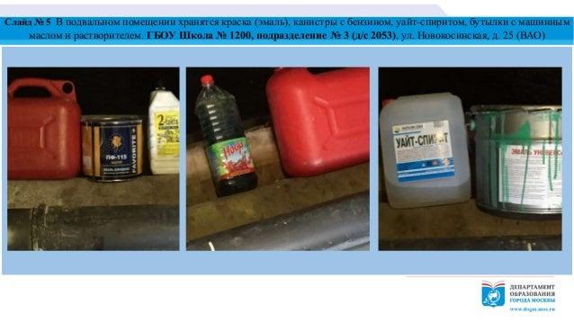 Слайд № 5 В подвальном помещении хранятся краска (эмаль), канистры с бензином, уайт-спиритом, бутылки с машинным маслом и ...