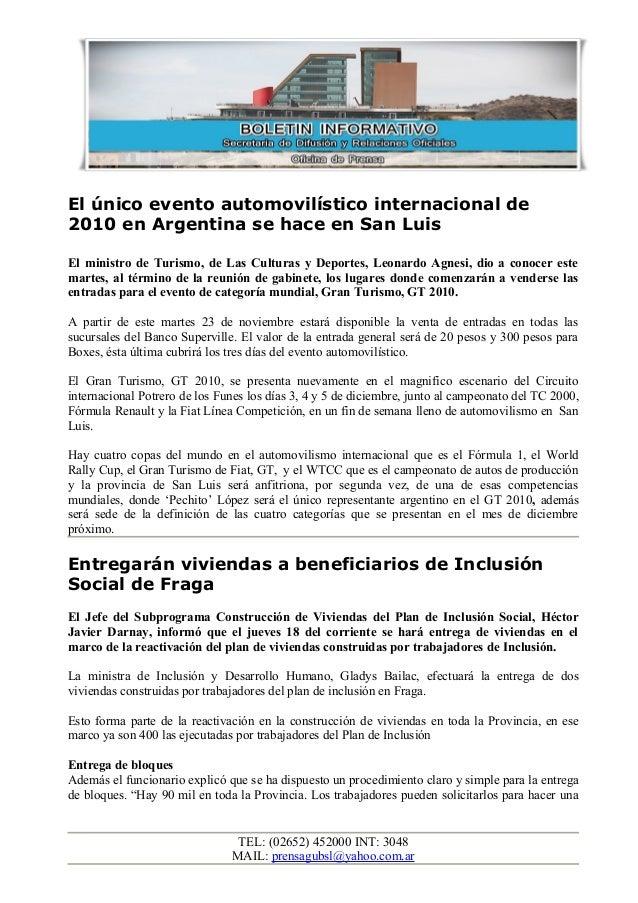El único evento automovilístico internacional de 2010 en Argentina se hace en San Luis El ministro de Turismo, de Las Cult...