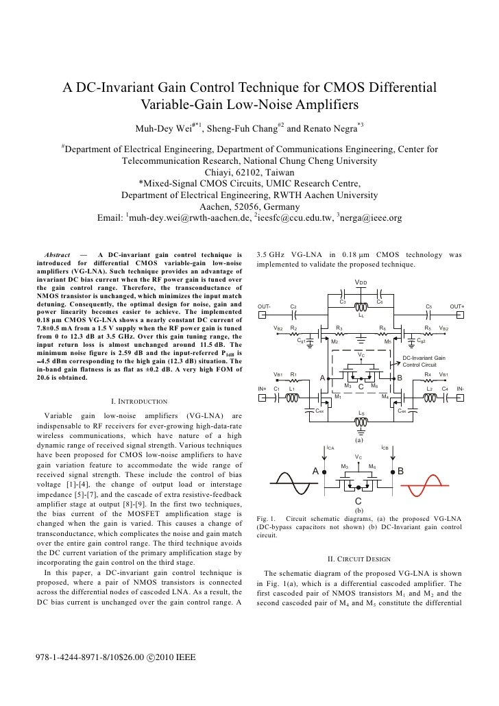 A DC-Invariant Gain Control Technique for CMOS Differential                   Variable-Gain Low-Noise Amplifiers          ...