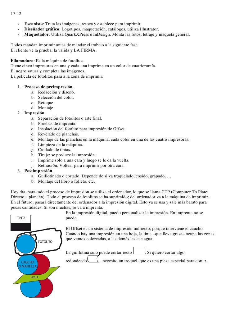 17-12     -    Escanista: Trata las imágenes, retoca y establece para imprimir.    -    Diseñador gráfico: Logotipos, maqu...