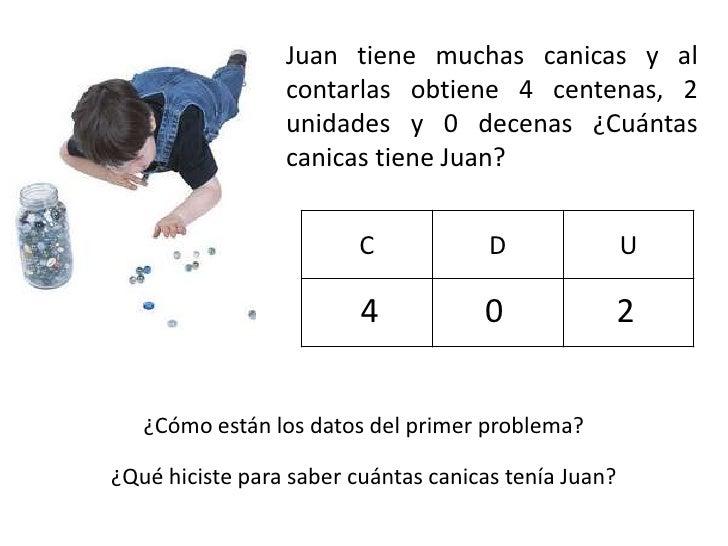 Juan tiene muchas canicas y al                 contarlas obtiene 4 centenas, 2                 unidades y 0 decenas ¿Cuánt...