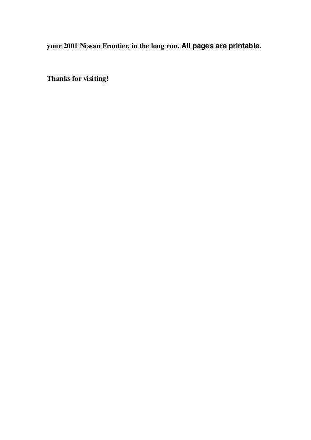 2001 Nissan Frontier Service Repair Manual Download