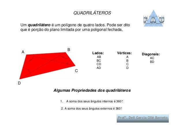 ProfProfªª. Deli Garcia Oll. Deli Garcia Olléé BarretoBarretoUm quadrilátero é um polígono de quatro lados. Pode ser ditoq...