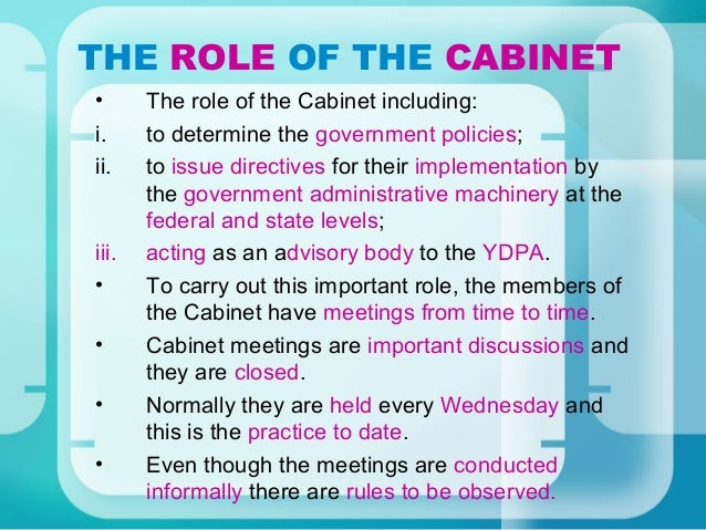what is the role of cabinet members 17 cabinet system 28313