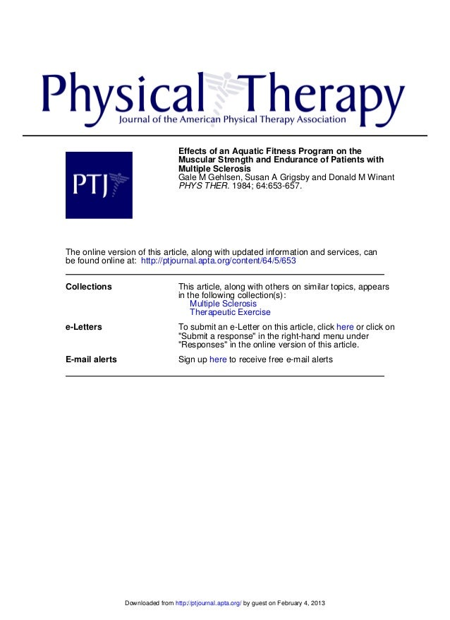 Effects of an Aquatic Fitness Program on the Muscular Strength and Endurance of Patients with Multiple Sclerosis Gale M Ge...