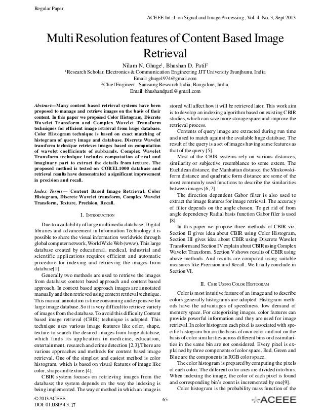 Regular Paper ACEEE Int. J. on Signal and Image Processing , Vol. 4, No. 3, Sept 2013  Multi Resolution features of Conten...