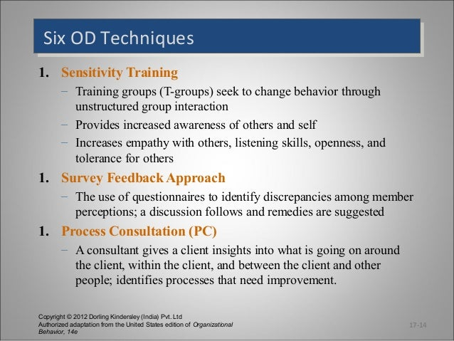 Six OD Techniques Six OD Techniques 1. Sensitivity Training – Training groups (T-groups) seek to change behavior through u...