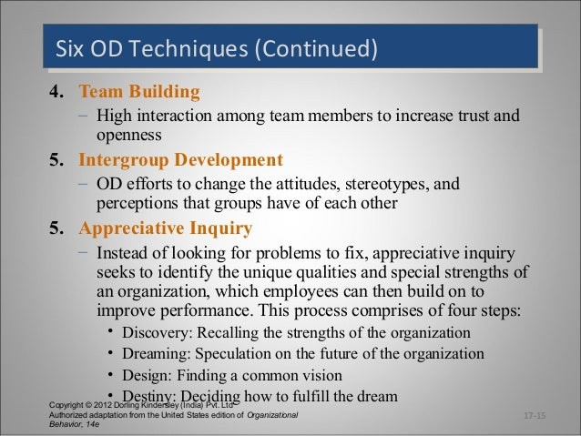 techniques of team building for organizational development The largest scale is that of organizational team building with the exception of the senior management team, the ability of  stages of team development.