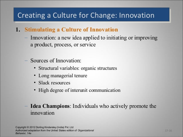 Creating a Culture for Change: Innovation Creating a Culture for Change: Innovation 1. Stimulating a Culture of Innovation...