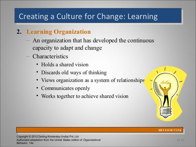 Creating a Culture for Change: Learning Creating a Culture for Change: Learning 2. Learning Organization – An organization...