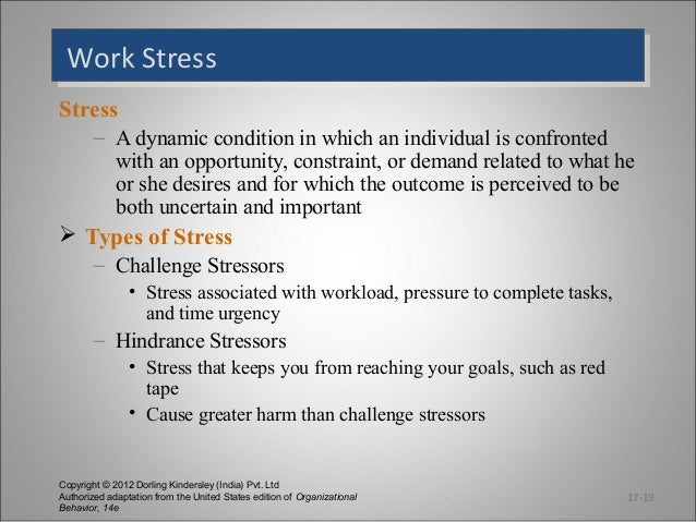 Work Stress Work Stress Stress – A dynamic condition in which an individual is confronted with an opportunity, constraint,...
