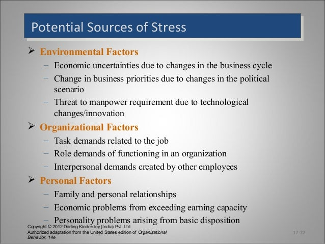 Potential Sources of Stress Potential Sources of Stress  Environmental Factors – Economic uncertainties due to changes in...