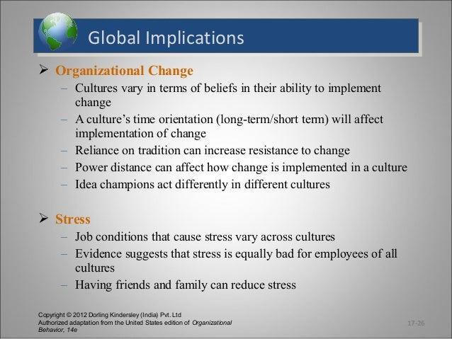 Global Implications Global Implications  Organizational Change – Cultures vary in terms of beliefs in their ability to im...