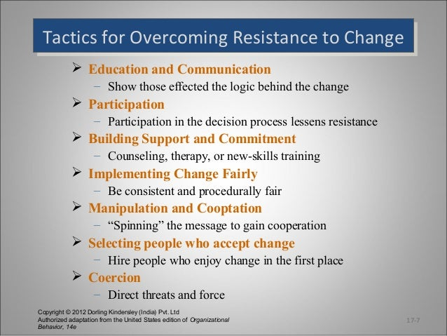 how to manage resistance to change in an organisation