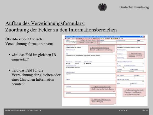 Aufbau des Verzeichnungsformulars: Zuordnung der Felder zu den Informationsbereichen Überblick bei 33 versch. Verzeichnung...