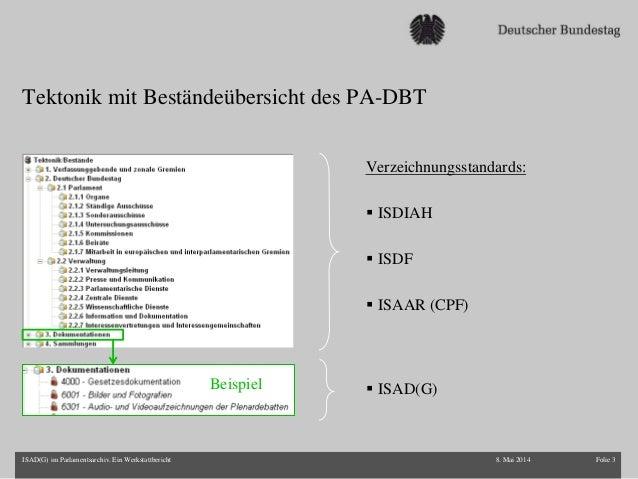Ireen Schulz-Hiller: ISAD (G) im Parlamentsarchiv. Ein Werkstattbericht Slide 3