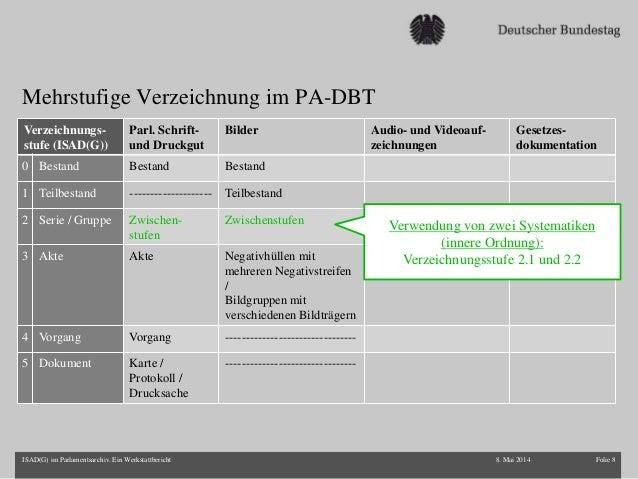 Mehrstufige Verzeichnung im PA-DBT 8. Mai 2014 Folie 8ISAD(G) im Parlamentsarchiv. Ein Werkstattbericht Verzeichnungs- stu...