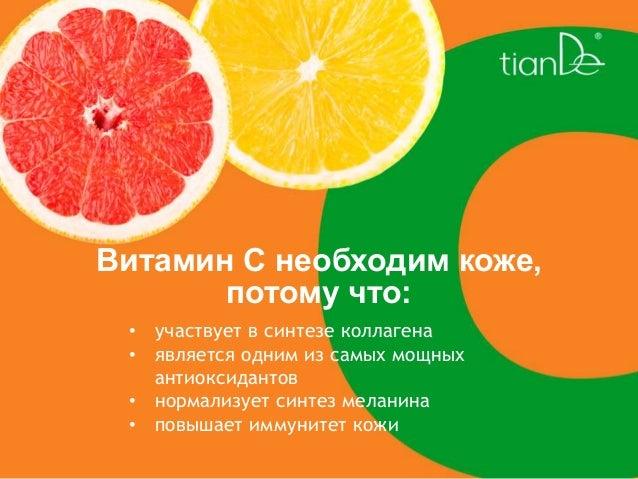 Витамин С необходим коже, потому что: • участвует в синтезе коллагена • является одним из самых мощных антиоксидантов • но...