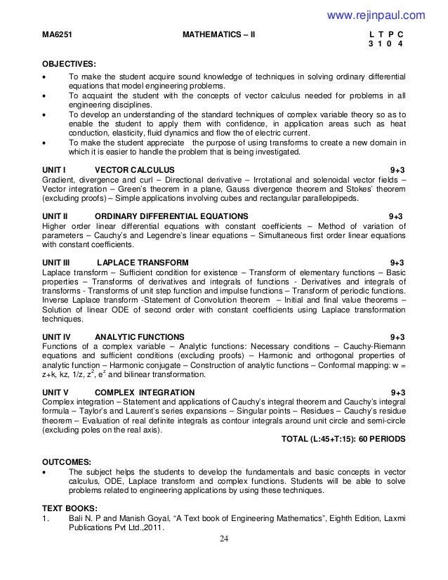 engineering mathematics 2 syllubus 2013 regulations