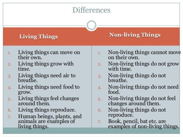 Living vs nonliving.