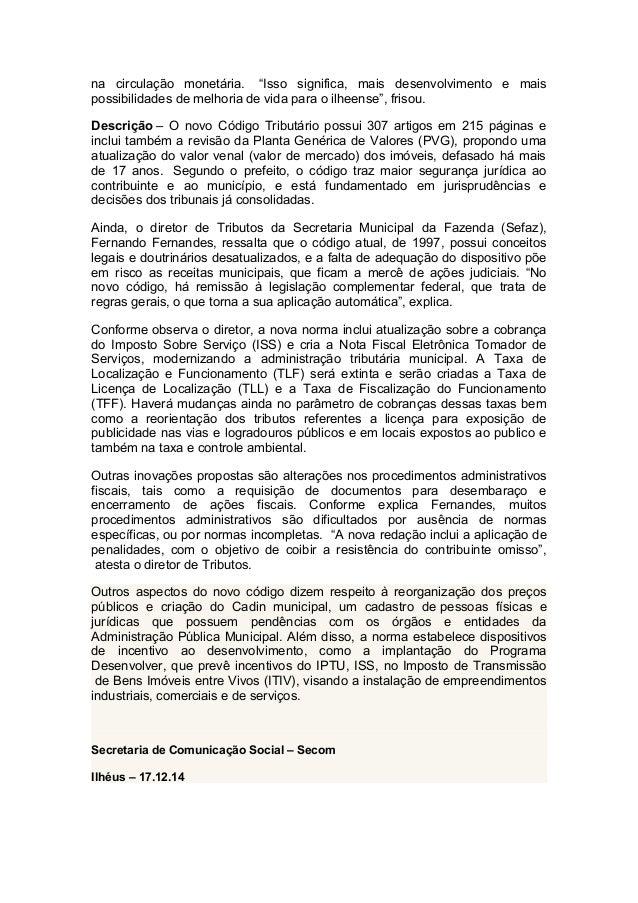 17.12.14.Novo código tributário de Ilhéus estabelece justiça contributiva   Slide 2