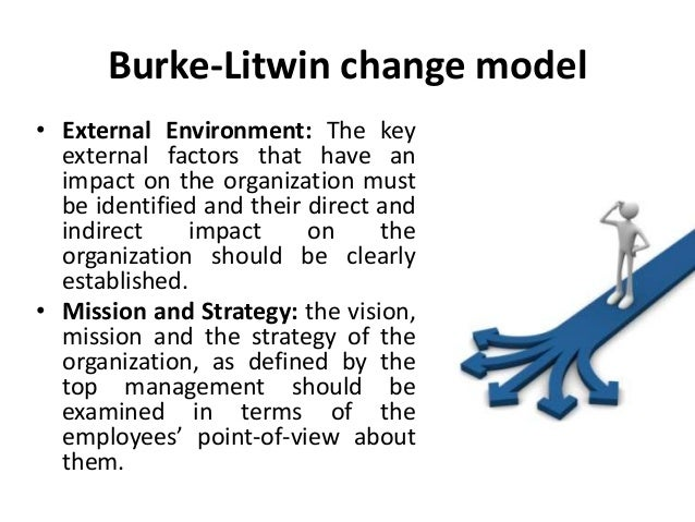 burke litwin model Burke-litwin model expansion: resilience and leadership 3 figure 1: burke and litwin (1992) a causal model of organizational performance and.