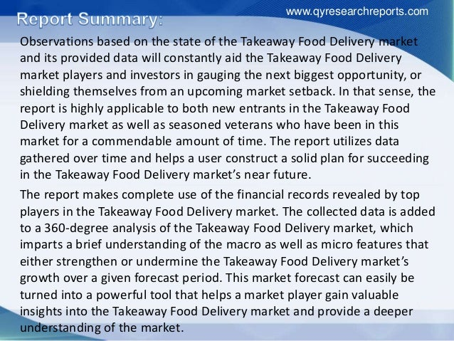 Report Shares Details About the Global Takeaway Food Delivery Sales and Market Share by Manufacturers Slide 3