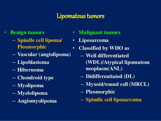 Lipomatous tumors • Benign tumors – Spindle cell lipoma/ Pleomorphic – Vascular (angiolipoma) – Lipoblastoma – Hibernoma –...