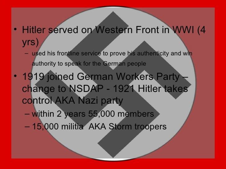 adolf hitlers use of oppression tactics to control nazi germany Adolf hitler was familiar with the work of 19th century scientists who spoke of northern european blond-haired, blue-eyed peoples as being aryan, a 'master race' because they had remained racially pure throughout the ages in his book, mein kampf (mein struggle), hitler explained how he believed that the german.