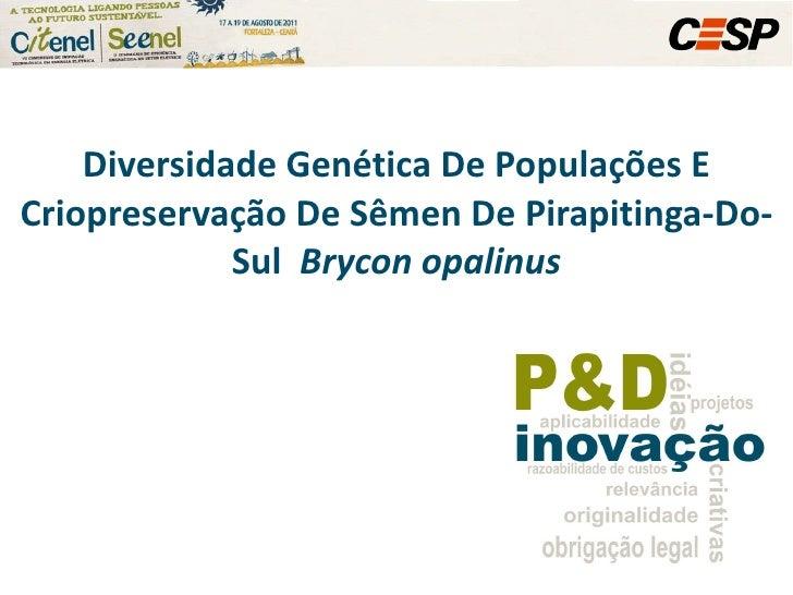 Diversidade Genética De Populações E Criopreservação De Sêmen De Pirapitinga-Do-Sul  Brycon opalinus