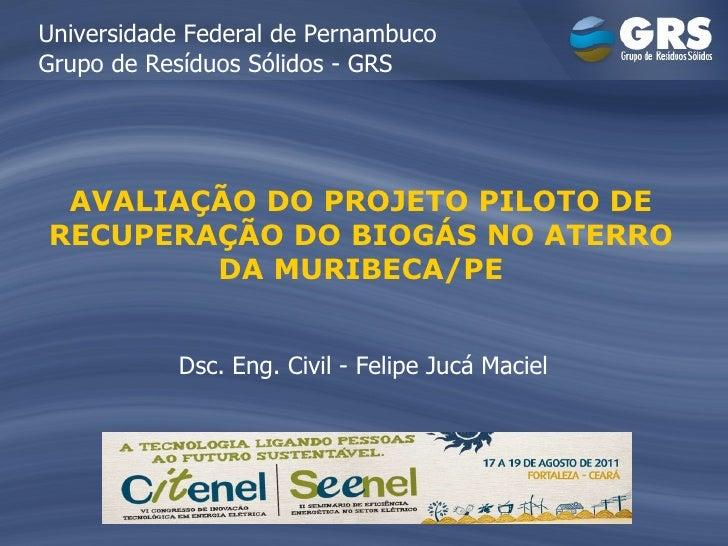 AVALIAÇÃO DO PROJETO PILOTO DE RECUPERAÇÃO DO BIOGÁS NO ATERRO DA MURIBECA/PE Universidade Federal de Pernambuco Grupo de ...
