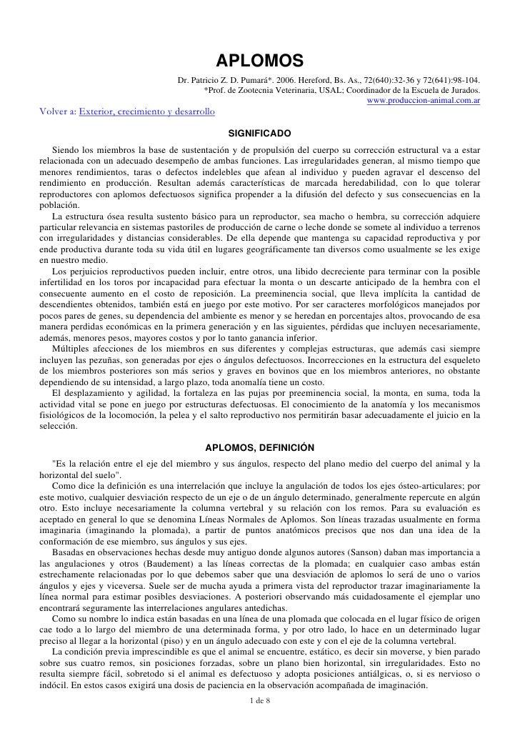 APLOMOS                                    Dr. Patricio Z. D. Pumará*. 2006. Hereford, Bs. As., 72(640):32-36 y 72(641):98...