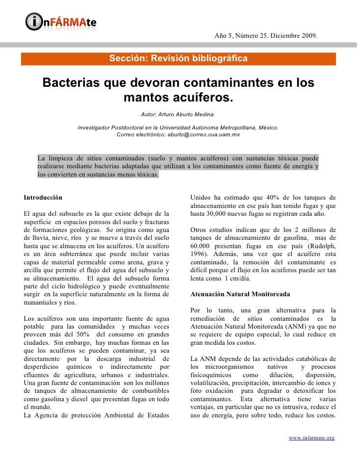 Año 5, Número 25. Diciembre 2009.                                 Sección: Revisión bibliográfica        Bacterias que dev...