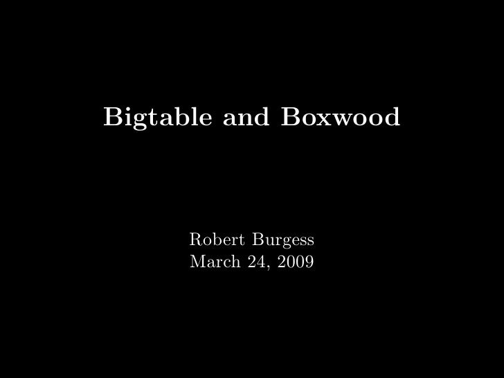 Bigtable and Boxwood         Robert Burgess      March 24, 2009