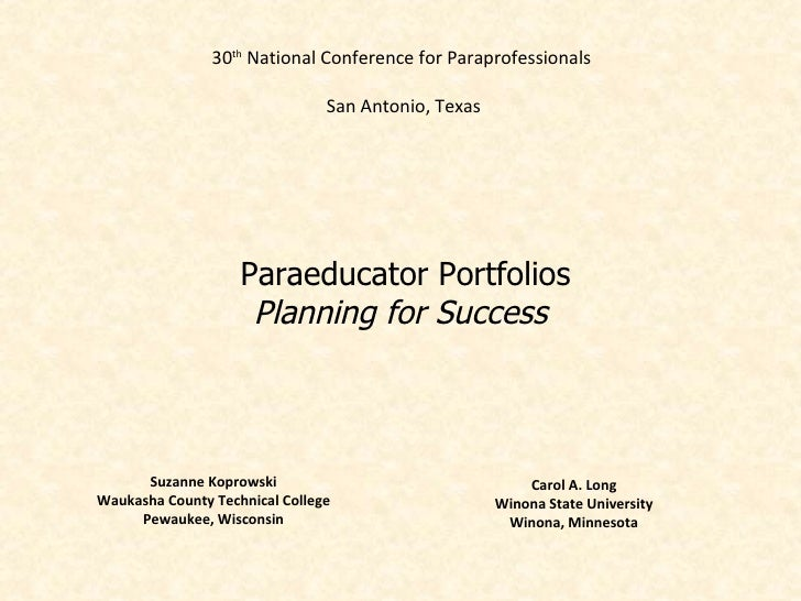 30th National Conference for Paraprofessionals                                San Antonio, Texas                    Paraed...