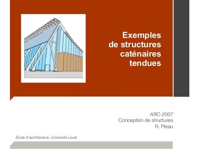 Exemples de structures caténaires tendues ARC-2007 Conception de structures R. Pleau École d'architecture, Université Laval