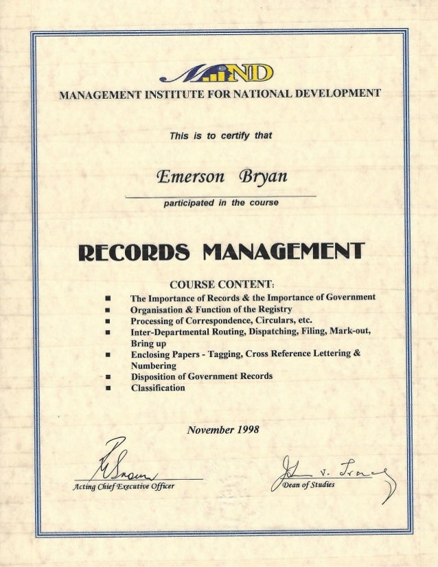 management certificate records slideshare upcoming