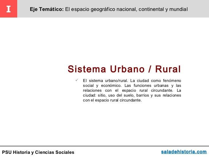 I          Eje Temático: El espacio geográfico nacional, continental y mundial                             Sistema Urbano ...