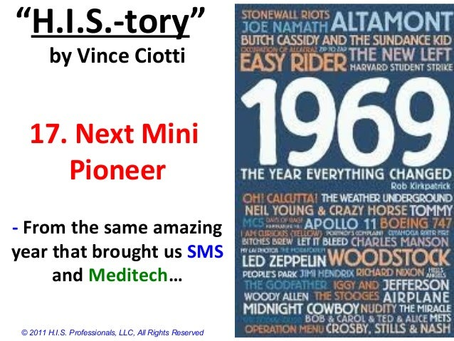 """""""H.I.S.-tory""""by Vince Ciotti17. Next MiniPioneer- From the same amazingyear that brought us SMSand Meditech…© 2011 H.I.S. ..."""