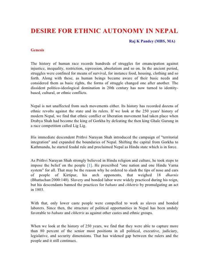 DESIRE FOR ETHNIC AUTONOMY IN NEPAL                                                              Raj K Pandey (MBS, MA)  G...