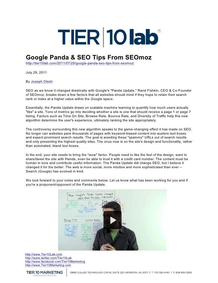 Google Panda & SEO Tips From ...