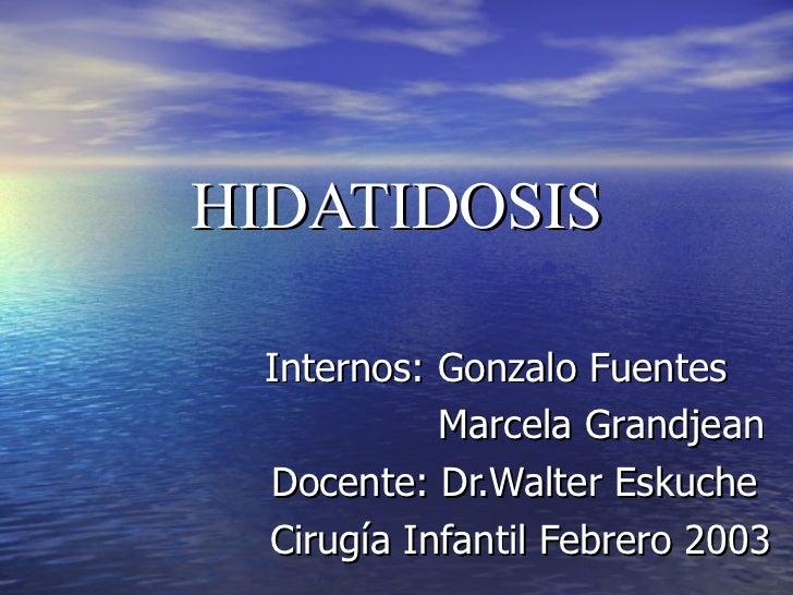 HIDATIDOSIS Internos: Gonzalo Fuentes Marcela Grandjean Docente: Dr.Walter Eskuche Cirugía Infantil Febrero 2003