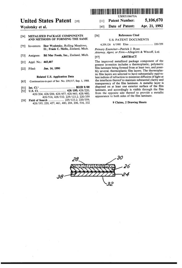United States Patent [19J Wyslotsky et al. [54] METALIZED PACKAGE COMPONE!'i!S AND METHODS OF FORMING THE SAME [75] Invent...
