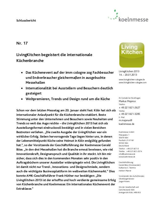 SchlussberichtNr. 17LivingKitchen begeistert die internationaleKüchenbranche    Das Küchenevent auf der imm cologne zog F...
