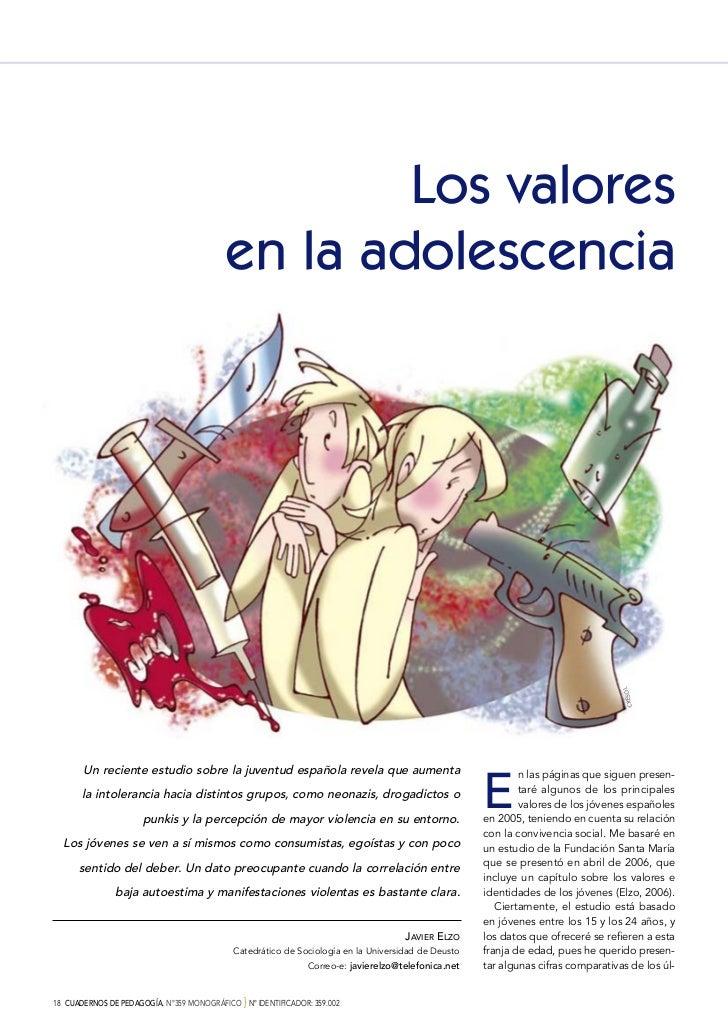 Los valores                                            en la adolescencia                                                 ...