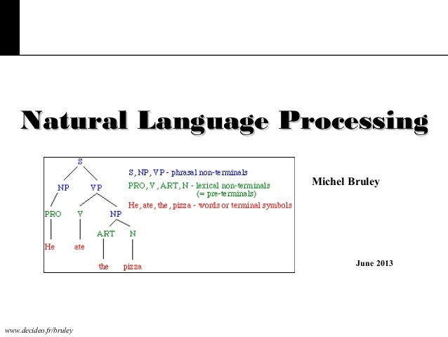 www.decideo.fr/bruley Natural Language ProcessingNatural Language Processing June 2013 Michel Bruley